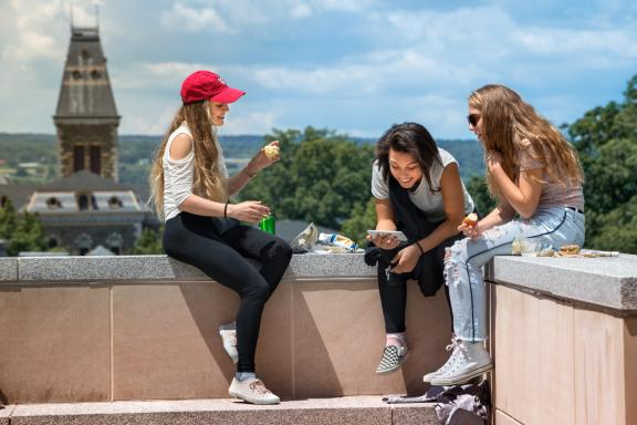 Three students during summer session