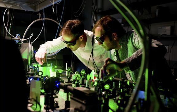 Two people conducting research