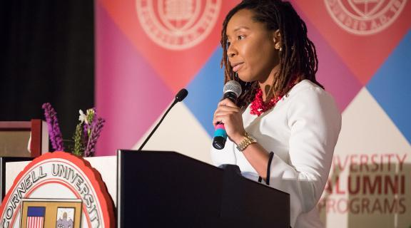 Cornell Engineering alumna giving a speech at a Diversity Alumni Programs event