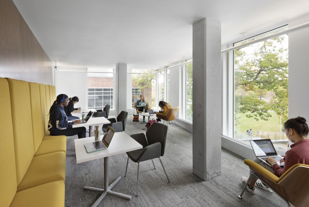 One of the many student lounge areas located throughout Upson Hall and designed to make collaborative work easier
